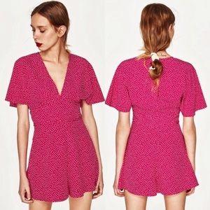 Zara | Pink Polka Dot Romper | Medium